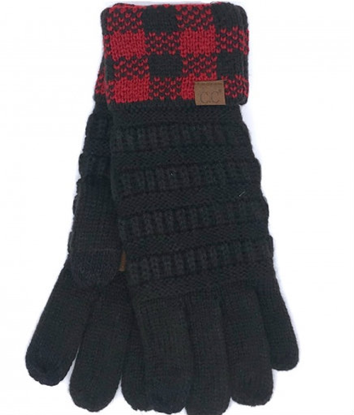 C.C Buffalo Plaid Cuff Black Red/Black Gloves