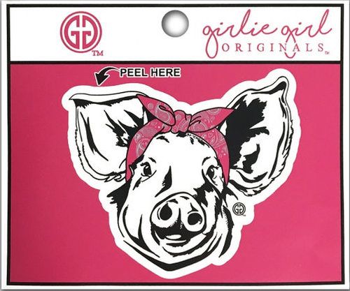 Girlie Girl Originals Bandana Pig Decal/Sticker Pink