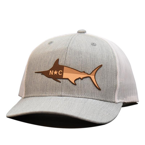 e9d6323f4bcd9 Lost Wando NC Marlin Flag Etched Leather Heather Grey  White Hat