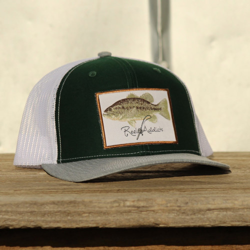 East Coast Waterfowl Reel Addicts Green/White Bass Snapback