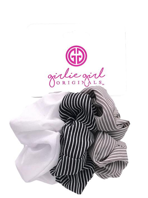 Girlie Girl Originals Assorted Scrunchies Black/Grey Striped