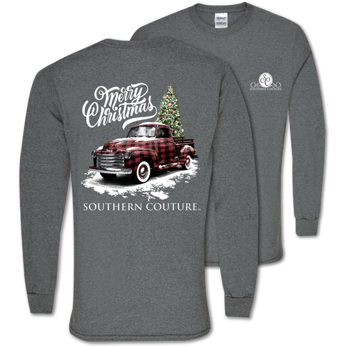 Southern Couture Buffalo Plaid Truck Graphite Heather LS
