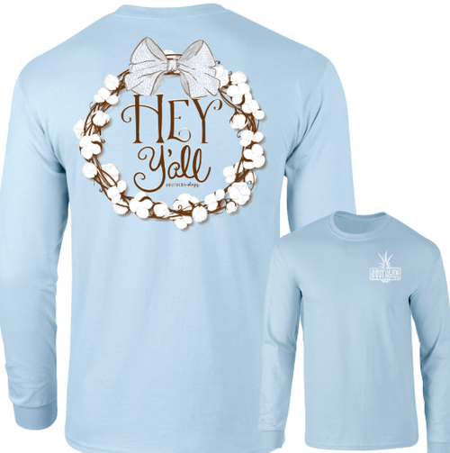 Southernology Hey Y'all Cotton Wreath Chambray LS