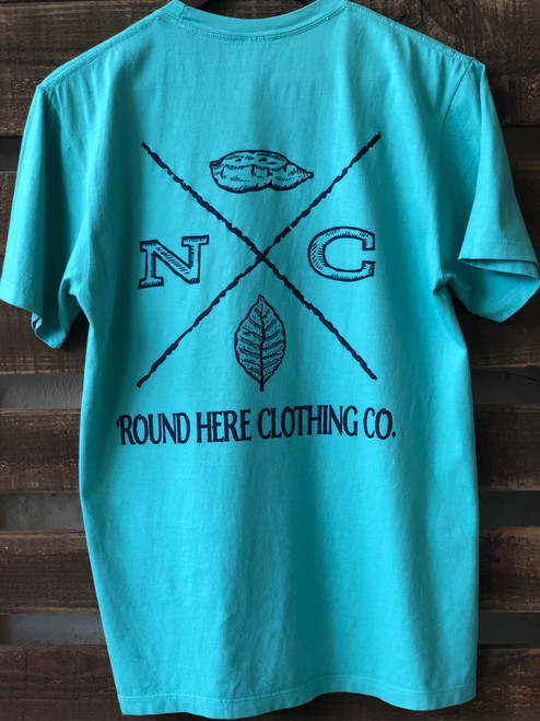 'Round Here Clothing  X-Mark North Carolina Tobacco & Sweet Potato Pocket Tee Seafoam