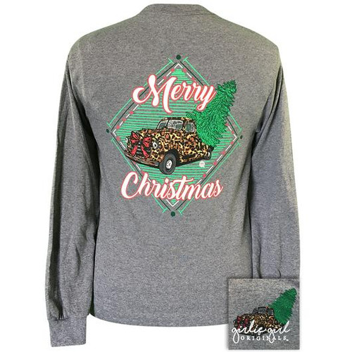 Girlie Girl Originals Leopard Truck Christmas Graphite Heather-LS
