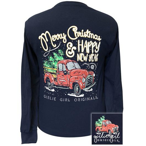 Girlie Girl Originals Christmas Truck Navy LS