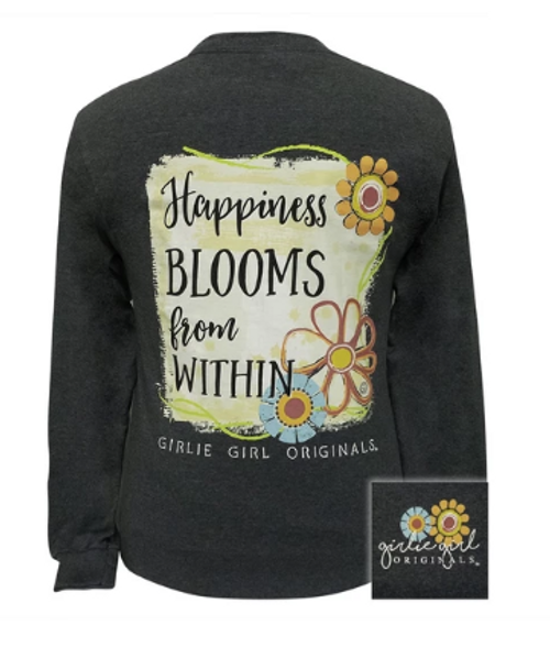 Girlie Girl Originals Happiness Blooms Dark Heather-LS