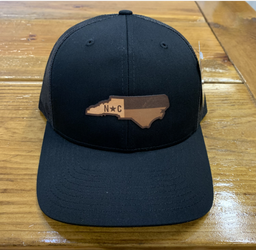 Round Here Clothing NC Leather Patch Black Hat