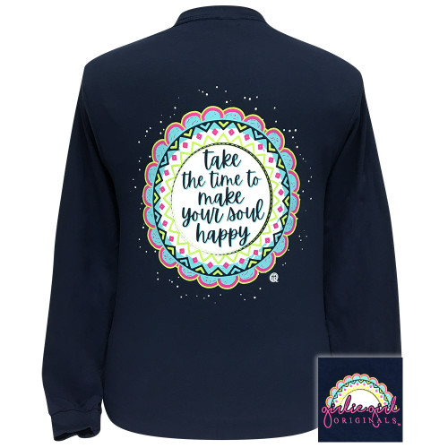 Girlie Girl Originals Make Your Soul Happy Navy LS