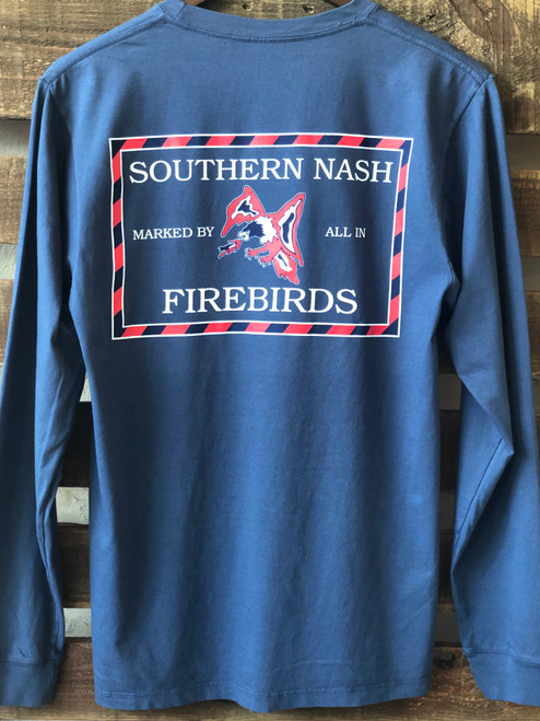 'Round Here Clothing Southern Nash Firebirds Pocket Tee Navy LS