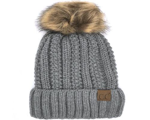 C.C. Sherpa Lined Faux Fur Pom Beanie Dark Melange Grey YOUTH