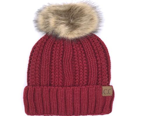 C.C. Sherpa Lined Faux Pom Beanie Red YOUTH