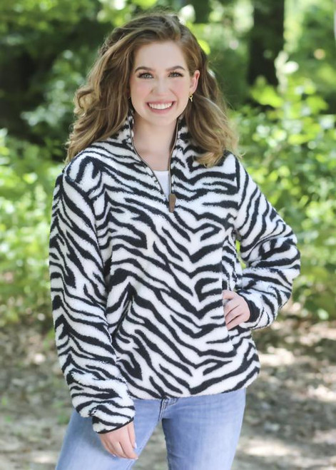 Girlie Girl Originals Zebra Sherpa Pullover