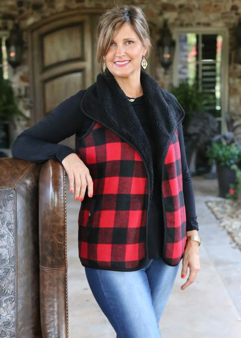 Girlie Girl Originals Buffalo Plaid Vest Red/Black
