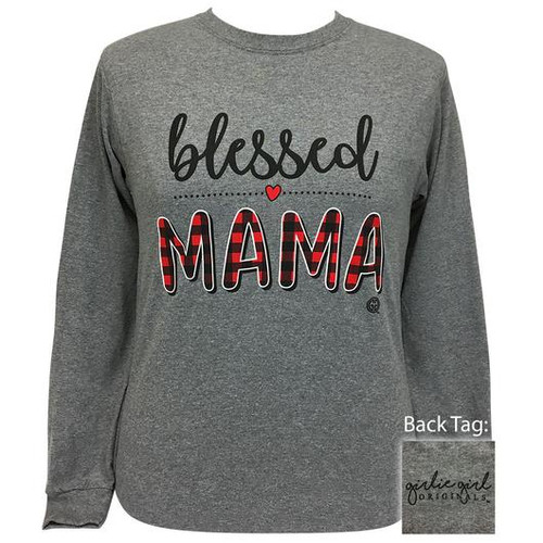 Girlie Girl Originals Blessed Mama Graphite Heather LS