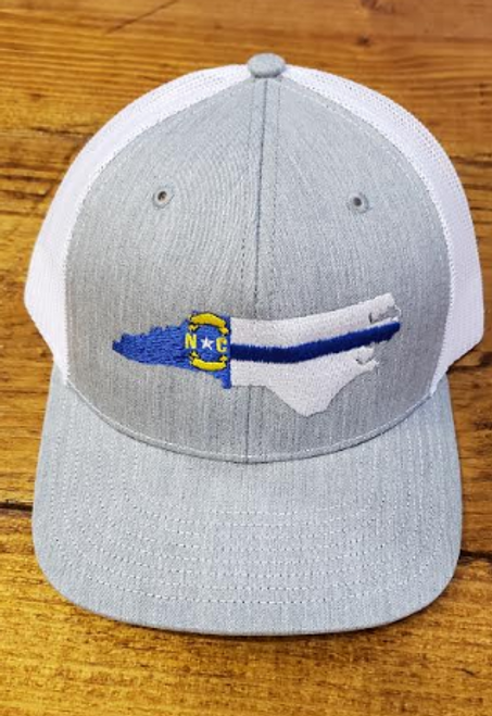 Crossroads Clothing White NC Blue Line Hat