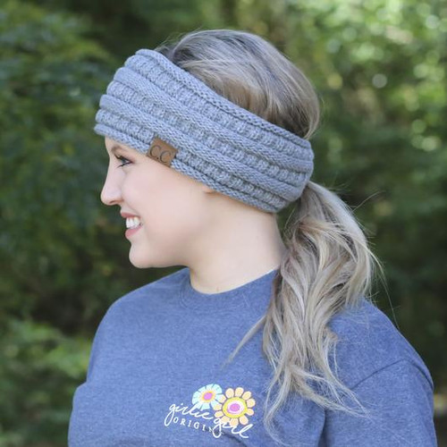 C.C Dark Melange Grey Pony Headwrap