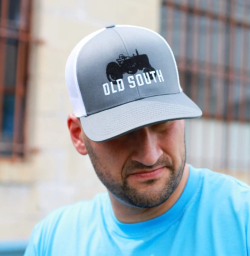 Old South Apparel Tractor Trucker Graphite/White Hat