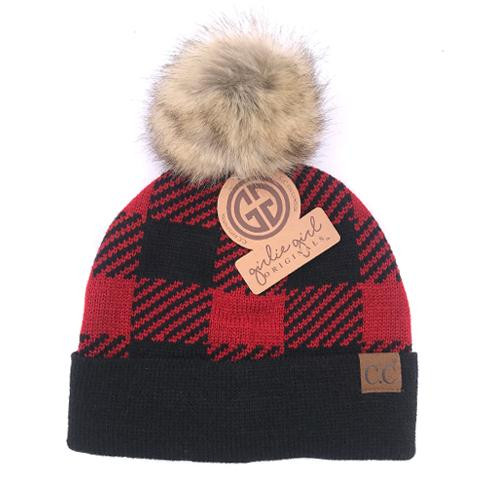 Girlie Girl Originals Red/Black Plaid Fur Pom Beanie