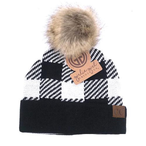 Girlie Girl Originals White/Black Plaid Fur Pom Beanie
