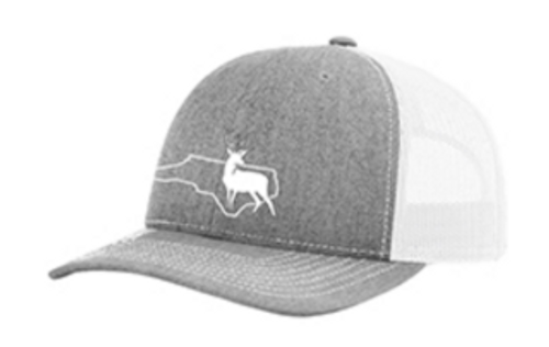 It's All About The South NC Outline Buck Heather grey/white hat