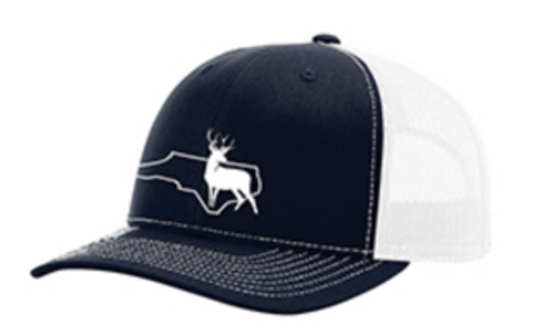 It's All About The South NC Outline Buck Navy/White Hat
