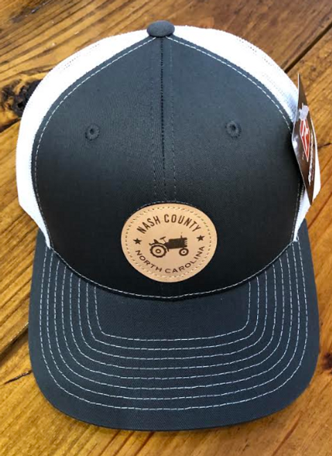 Round Here Clothing Nash County Tractor Patch Charcoal/White Hat
