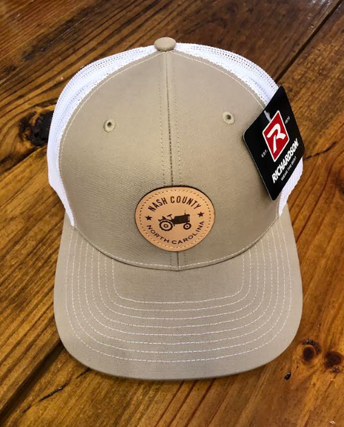 Round Here Clothing Nash County Tractor Patch Khaki/White Hat