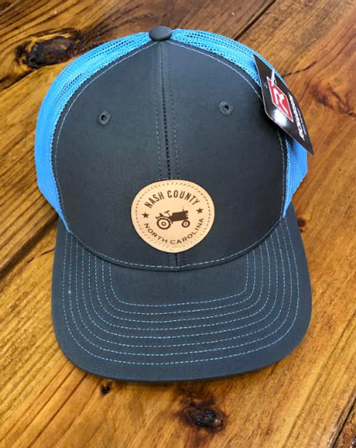 Round Here Clothing Nash County Tractor Patch Charcoal/Columbia Blue Hat