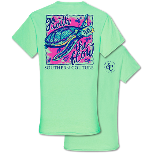 Southern Couture Go With The Flow Turtle Mint Green