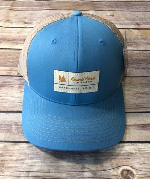 Round Here Clothing Tobacco label Nash County Columbia Blue/Khaki Hat