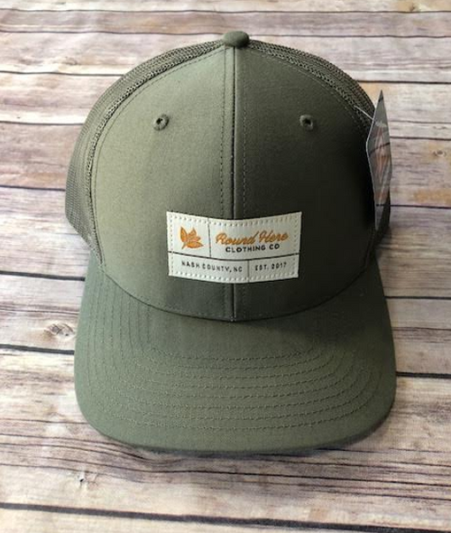 Round Here Clothing Tobacco label Nash County Loden hat