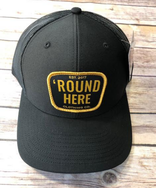 Round Here Clothing Gold Patch Black Hat