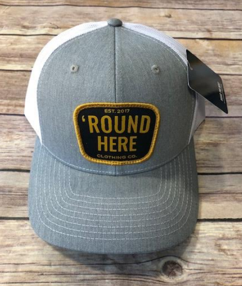Round Here Clothing Gold Patch Heather Grey/White Hat