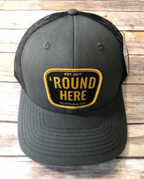 Round Here Clothing Gold Patch Charcoal/Black Hat