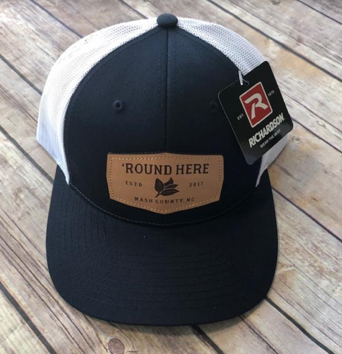 Round Here Clothing Tobacco Leather Patch Navy/White Hat