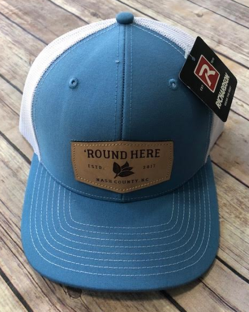 Round Here Clothing Tobacco Leather Patch Columbia Blue/White Hat