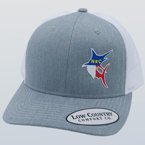 Low Country Clothing NC Flag Marlin Heather/White Hat
