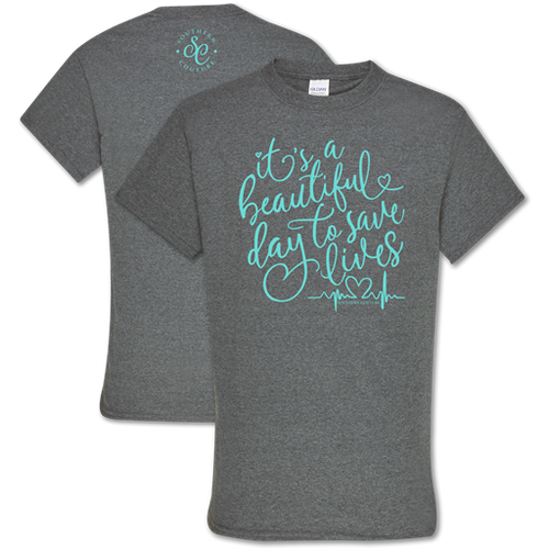 Southern Couture Save Lives Front Print Graphite Heather