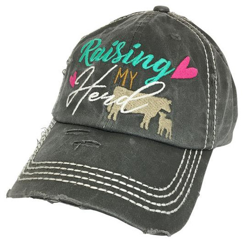 Girlie Girl Originals Raising My Herd Grey Distressed Hat