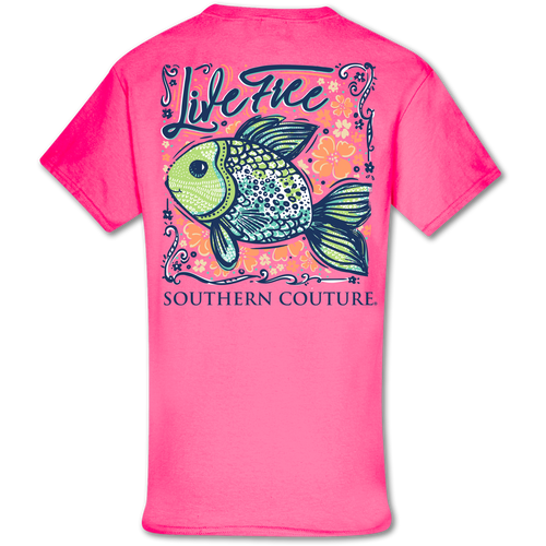 Southern Couture Live Free SS Safety Pink