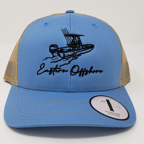 Eastern Offshore Skiff Boat Columbia Blue/Khaki Hat