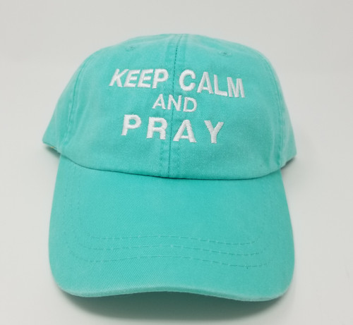 Creative Keep Calm and Pray Aqua Hat