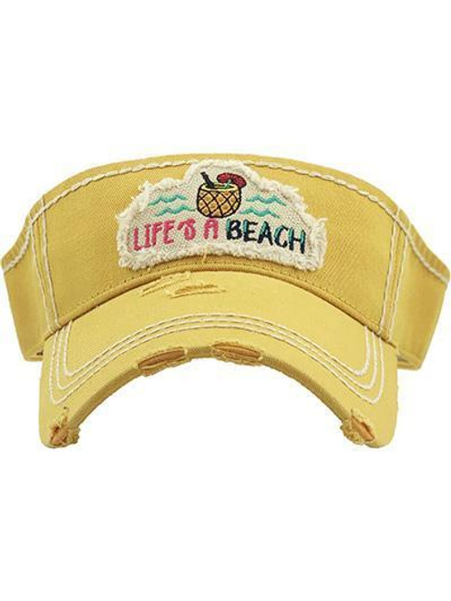 Girlie Girl Originals Life's a Beach Yellow Visor