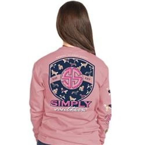 Simply Southern Pup Logo Crepe Pink LS