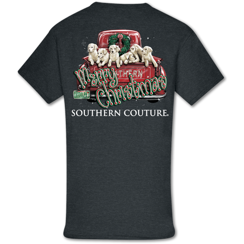 Southern Couture Merry Christmas Pups Dark Heather