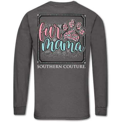 Southern Couture Fur Mama Paw Charcoal Long Sleeve