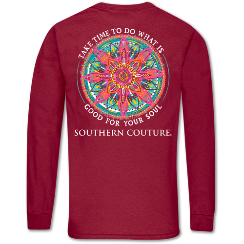 Southern Couture Good For Soul Cardinal Red Long Sleeve