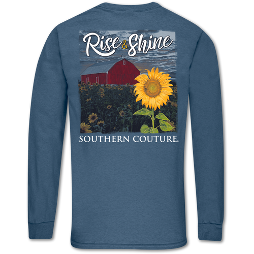 Southern Couture Rise & Shine Indigo Blue Long Sleeve