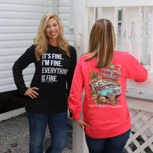 Southern Couture Everything is Fine Black Long Sleeve